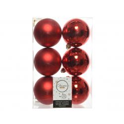 Boules Plastique Rouge brillant et mat D8 cm Par 6