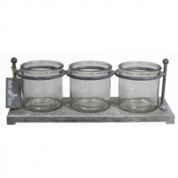 CYL - Verres cylindres par 3 + Plateau bois L31.5 x P11.5 x H10 cm