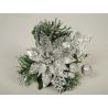 SHINE - Poinsettia Paillettes argentées D10 cm