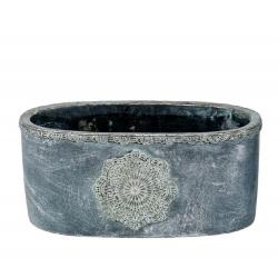 MANDALA - Jardinière Ciment Gris L23,5 x P12,5 x H10,5 cm