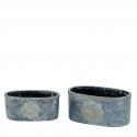 MANDALA - Jardinière Ciment Gris L28 x P16 x H16,5 cm