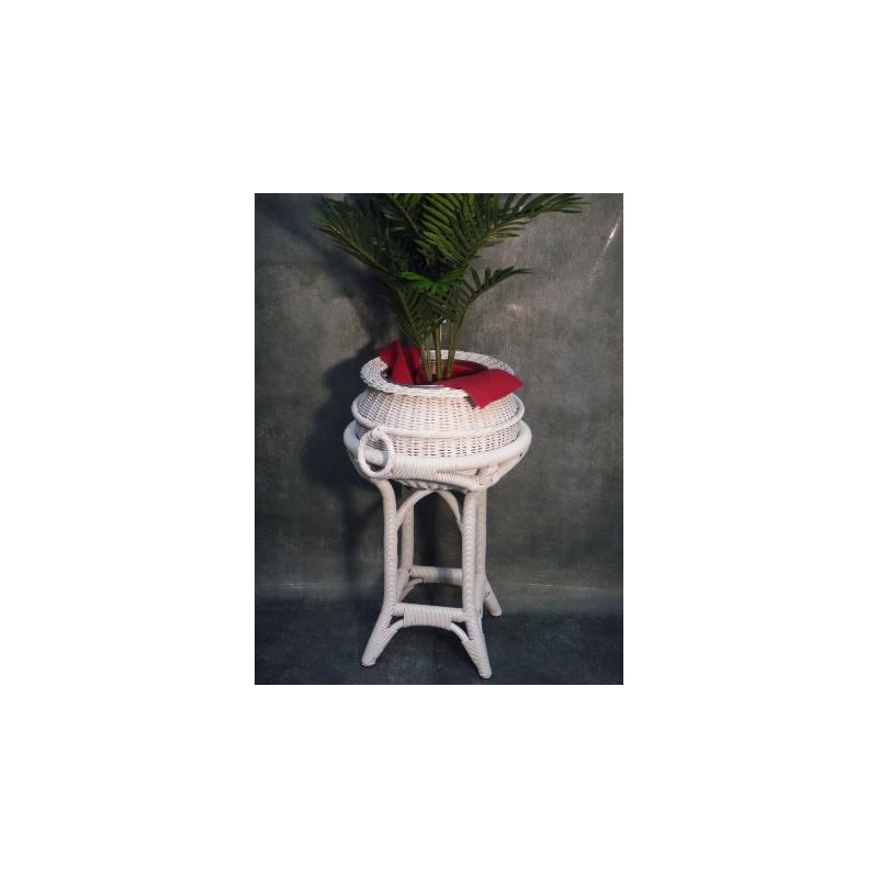 Porte Plante + Panier Rotin ROSE Blanc 0.45x0.74m