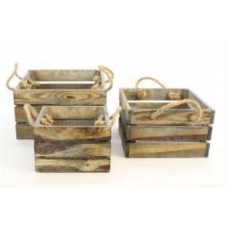 BOX - Caissettes vintage Bois Gris par 3
