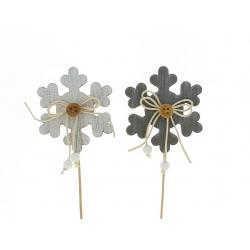ALPINE - Piques bois flocons Assortis gris H27 cm par 12