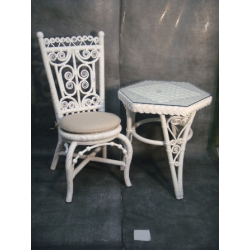 Table Octogonale Rotin MARGUERITE Blanc 0.6x0.6m