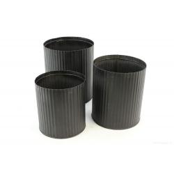 PLUMB - Cache-pot Fer strié Noir D17.5 x H20 cm par 3