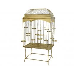 BIRDY - Cage à oiseaux sur pied Fer Or L120 x P85 x H225 cm