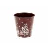 ESBO - Cache-pot motif sapin Zinc Rouge D10.5 x H10.5 cm