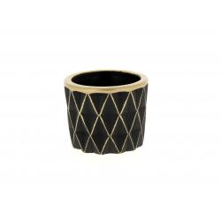 SOLVTRAD - Cache-pot noir Rebords et motifs Or D7.5 x H6.5 cm
