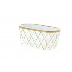 SOLVTRAD - Jardinière blanche Rebords et motifs or L14,8 x H6 cm