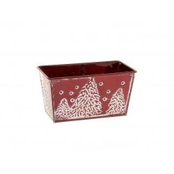 ESBO -Jardinière motif sapin Zinc Rouge L15 x P8 x H8 cm