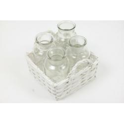 CHIP - 4 Pots verre + Support vannerie Blanc L17 x P17 x H11 cm