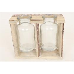 STASH - 2 Bouteilles verre + Support bois L18.5 x P7 x H16 cm