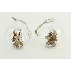 DEER - Boules de noël en verre avec cerfs Assortis par 2