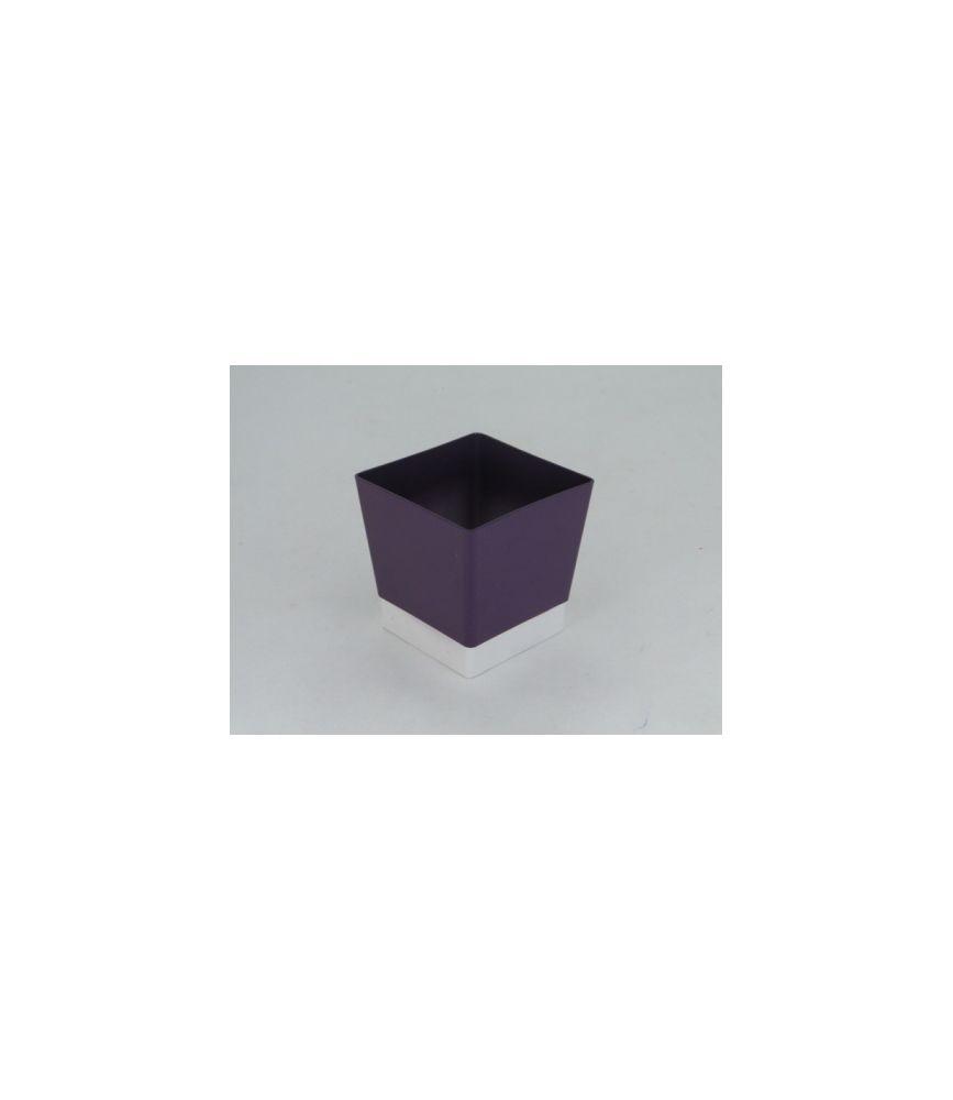 Cache-pot plastique carré D9 H9.6 Violet
