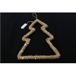 MANILIA - Sapin en corde à suspendre + Led L23 x H28 cm
