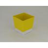 Cache-pot plastique carré D9 H9.6 Jaune