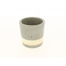 SEJI - Cache-pot gris Ciment et bois D11 x H11 cm