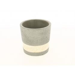 SEJI - Cache-pot gris Ciment et bois D14 x H13 cm