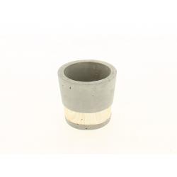 SEJI - Cache-pot gris Ciment et bois D7.3 x H7.7 cm