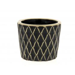 SOLVTRAD - Cache-pot noir Rebords et motifs or D12.5 x H10,5 cm