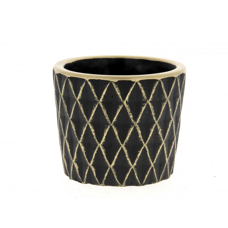 SOLVTRAD - Cache-pot noir Rebords et motifs or D12.5 x H1.,5 cm