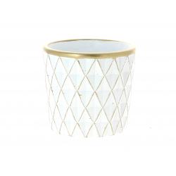 SOLVTRAD - Cache-pot blanc Rebords et motifs or D14 x H12,5 cm