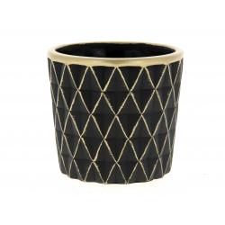 SOLVTRAD - Cache-pot noir Rebords et motifs or D14 x H12,5 cm