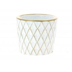 SOLVTRAD - Cache-pot blanc Rebords et motifs or D12.5 x H10,5 cm