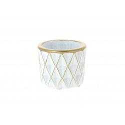 SOLVTRAD - Cache-pot blanc Rebords et motifs or D7.5 x H6.5 cm