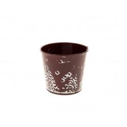 ESBO - Cache-pot motif sapin Zinc Rouge D8 x H7 cm