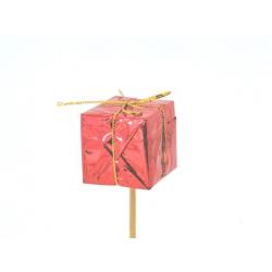 GIFT - Pique déco Cadeau Rouge H14,5 cm par 12