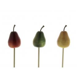 FRUITS - Piques Poire Assortis H20 cm par 12