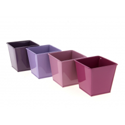 PURPLE - Cache-pot Zinc Carré Assortiment L8 x P8 x H8 cm par 6
