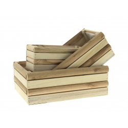 VOVA - Jardinière rectangle Bois Naturel L28.5 x P19 x L10.5 cm par 3