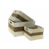 CASE - Caisse Bois et corde Blanc L25 x P25 x H15 cm par 3
