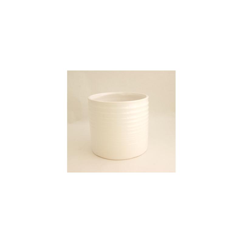Cache Pot Céramique D11.5 H11.5 Blanc (x2)
