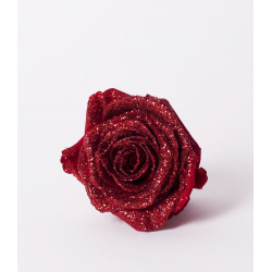 ROSA - Tête Rose Stabilisée D5cm Rouge Pailletée