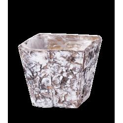 LYN -Cache-pot carré Bois blanchi L8 x P8 x H8 cm