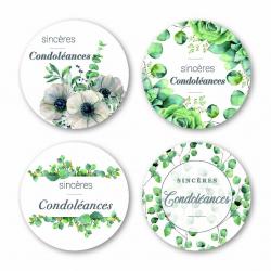CONDO- Etiquettes Voeux Assort. par 500 Sincères Condoléances