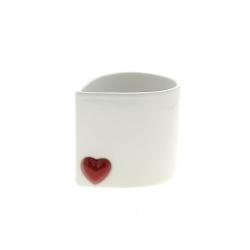 CORAZON - Cache-pot cœur rond Céramique Blanc L12.5 x P10 x H11 cm