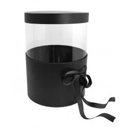 PANDORE - Box ronde Kraft/Transparent Noir H25.5 x D21 cm par 2