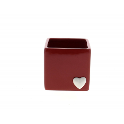 CORAZON - Cache-pot cœur carré Céramique Rouge L11 x P10,5 x H10 cm