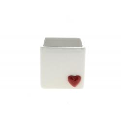 CORAZON - Cache-pot cœur carré Céramique Blanc L11 x P10,5 x H10 cm