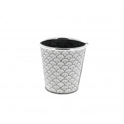 CERCLE - Cache-pot à motifs Zinc Blanc D10.5/7.5 x H10.5 cm