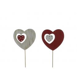 HEART - Pique Cœur Bois Assortis L7.5 x P7.5 x H20 cm par 12