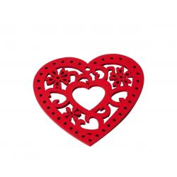 HEART - Coeurs Bois Rouge D7 cm par 24