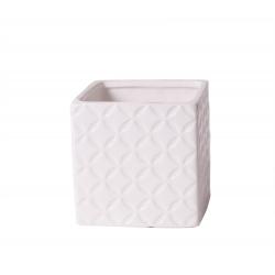 MAY - Cache Pot Carré Céramique Blanc L8 x H8 cm
