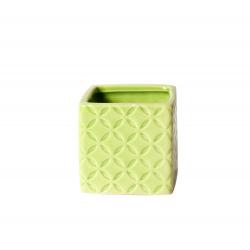 MAY - Cache Pot Carré Céramique Vert L6 x H6 cm