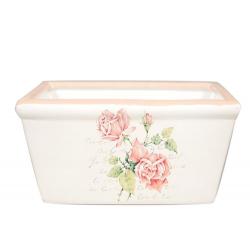 ALIX - Jardinière Céramique Blanche motifs fleurs L20 X P11 x H9 cm